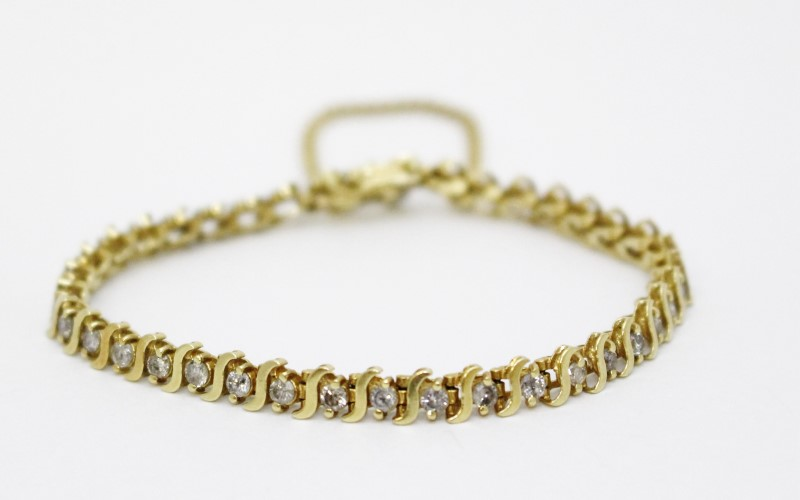 "6"" 14K Yellow Gold Wave Inspired Round Diamond Tennis Bracelet w/ Safety Chain"