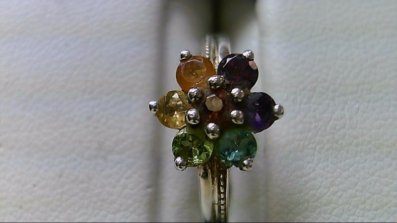 Rainbow Stone Lady's Silver Ring: Blue, Purple, Teal, Yellow, Green, Red, Orange