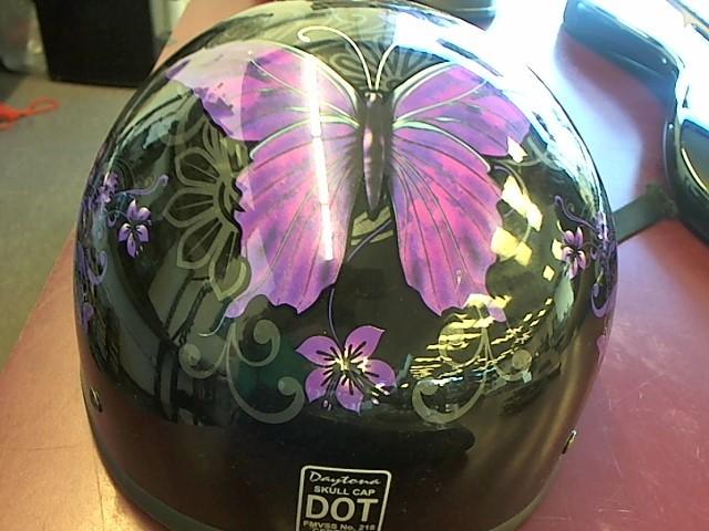 DAYTONA Motorcycle Helmet SKULL CAP SILVER BUTTERFLIES