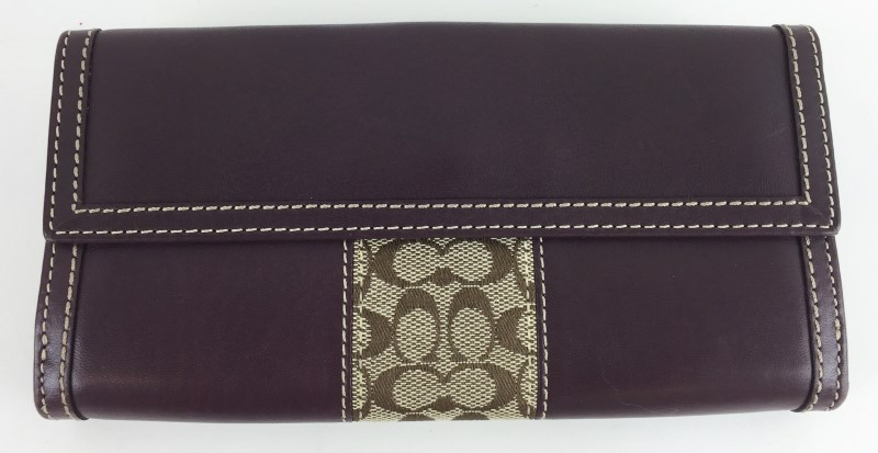 COACH TRIFOLD CANVAS LEATHER WALLET