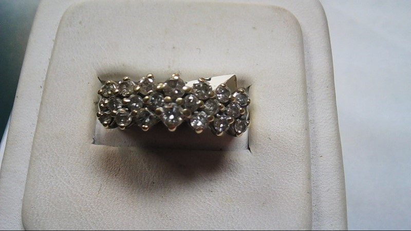 Lady's 3 Row Cluster Band 10K Yellow Gold Size 7