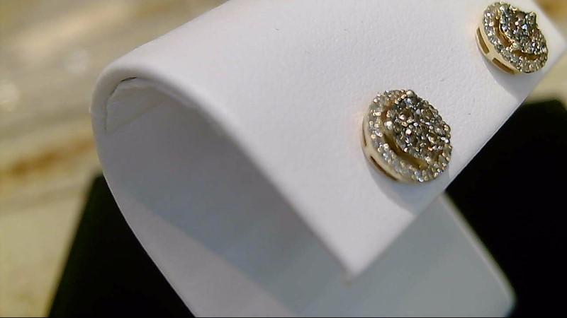 LADY'S 10K YELLOW GOLD CHOC AND WHITE DIAMOND EARRINGS