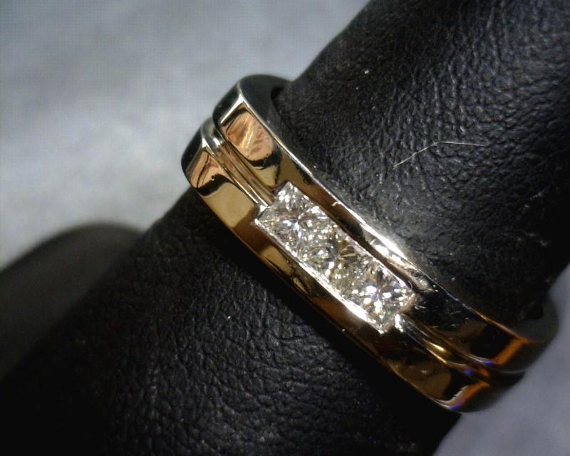Gent's Diamond Fashion Ring 3 Diamonds .15 Carat T.W. 14K White Gold 5.4dwt