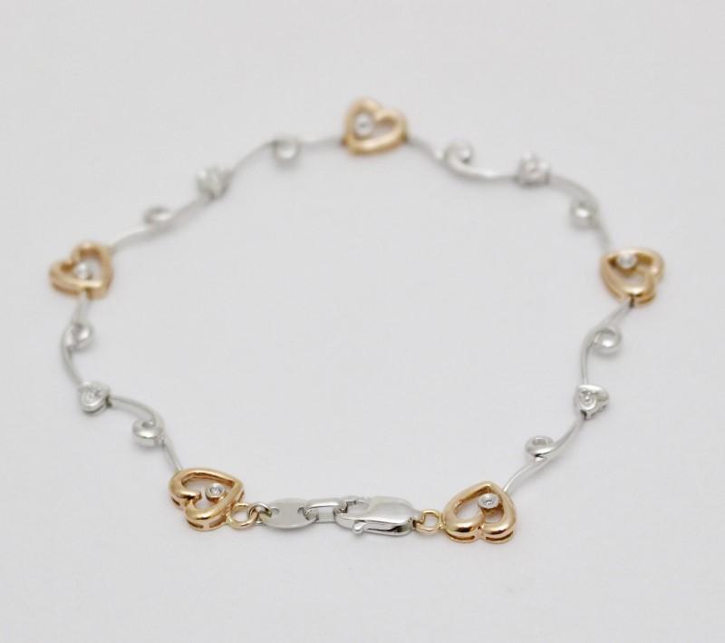 "6.5"" 10K Two Tone White & Rose Gold Hearts on the Vine Diamond Bracelet Fall"