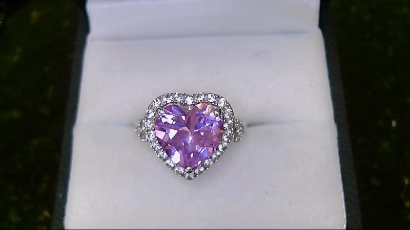 Cute Pink Heart & CZ 925 Silver Ring