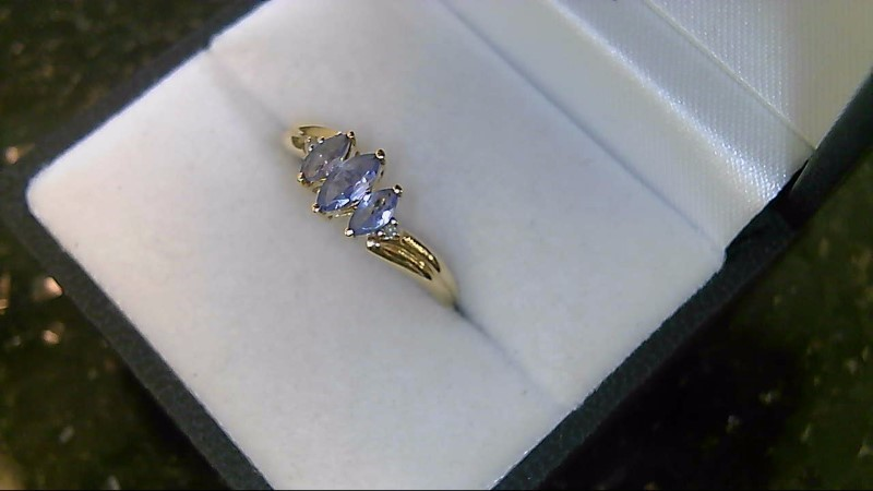 Synthetic Tanzanite Lady's Stone & Diamond Ring 2 Diamonds .02 Carat T.W.