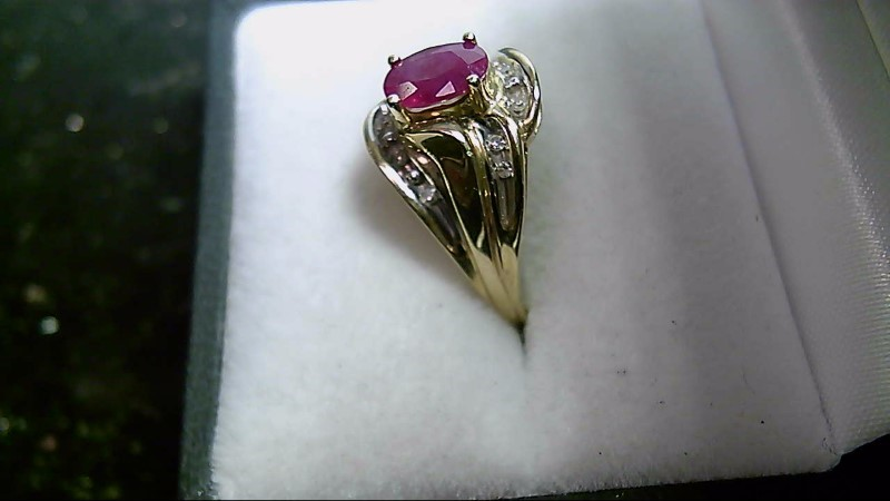 July Birthstone Oval Ruby Lady's Stone & Diamond 10K Yellow Gold Ring