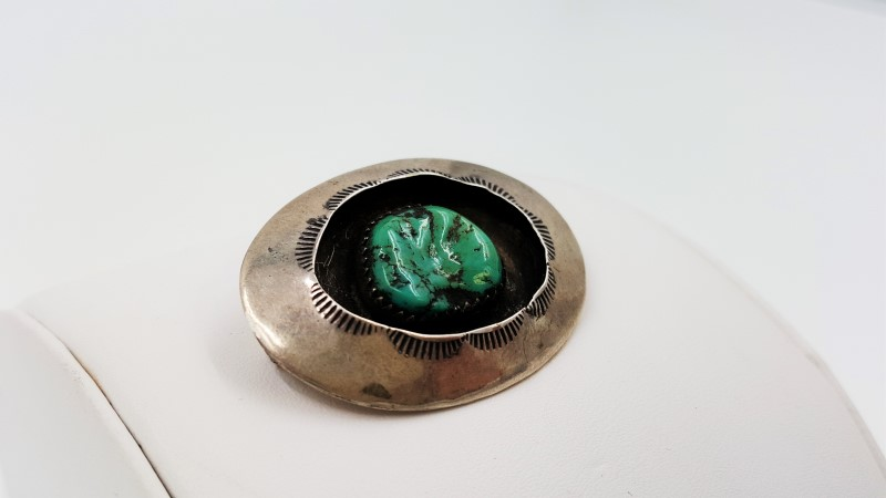 Unisex Turquoise & Sterling Brooch Stamped Navajo Maker Unknown