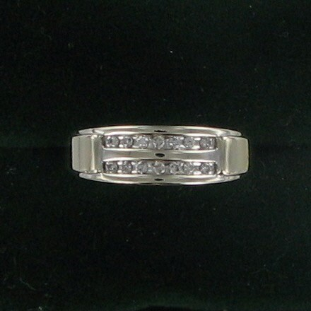 Gent's Gold-Diamond Wedding Band 14 Diamonds .28 Carat T.W. 10K White Gold
