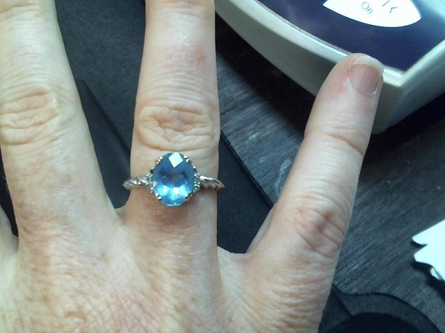 Synthetic Blue Topaz Lady's Stone Ring 10K White Gold 2.4g Size:7