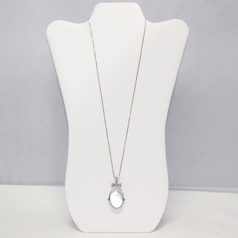 """OFPEA 24"""" SILVER AND STONE STERLING REVERSIBLE PEMDMAT WITH BOW"""