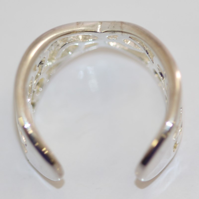 Open Shank Swirling Sterling Silver Ring Size 7*Expands