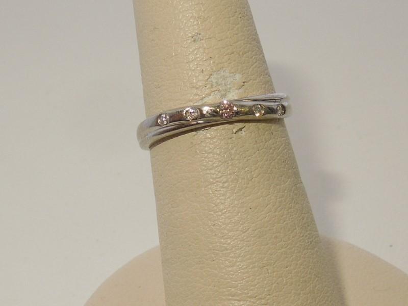 Lady's Platinum-Diamond Ring Guard 5 Diamonds .07 Carat T.W. 900 Platinum 3.4g