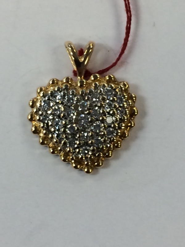Gold-Multi-Diamond  HeartPendant 25 Diamonds .25 Carat T.W. 18K Yellow Gold 2.2g