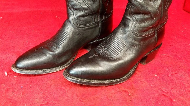 Tony Lama 10D Western Boots Mens Round Toe Leather Black Jersey 6105C