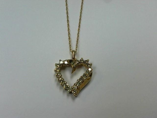 Diamond Necklace 20 Diamonds .20 Carat T.W. 10K Yellow Gold 2.8g