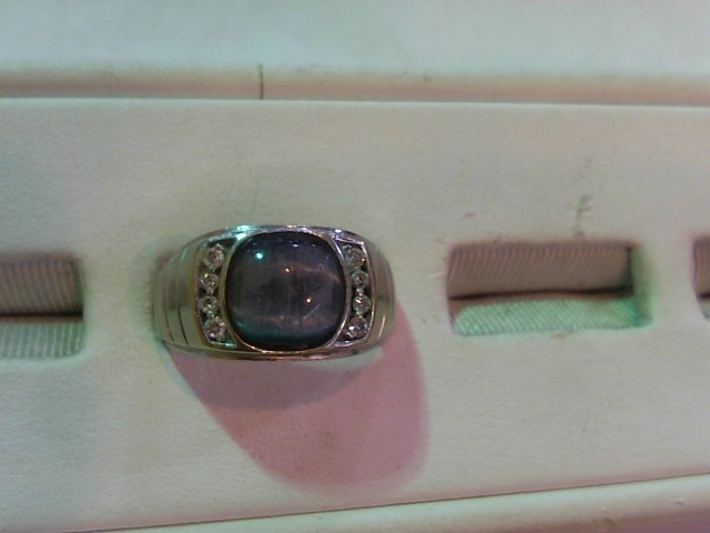 Synthetic Agate Gent's Stone & Diamond Ring 8 Diamonds .16 Carat T.W.