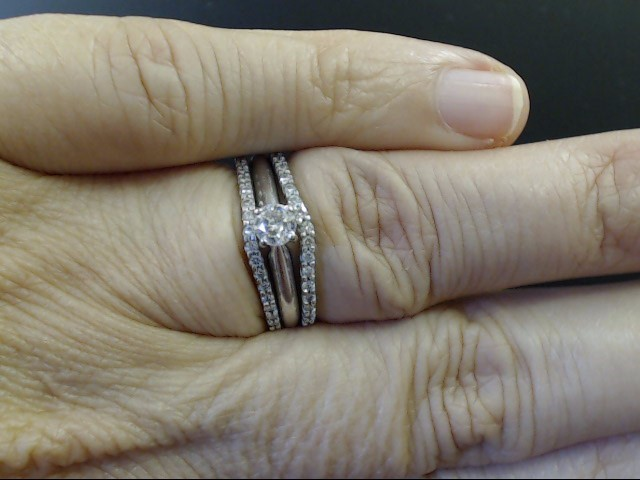 DIAMOND WEDDING SET 3 RINGS REAL 14K WHITE GOLD ENGAGE GUARD ANNIVER