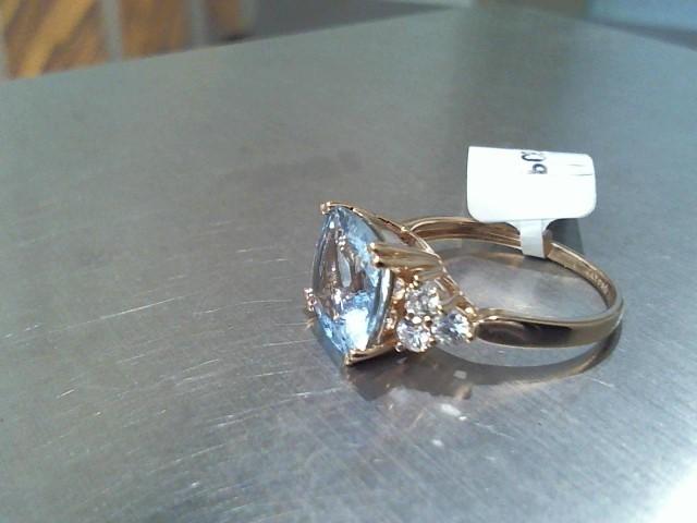Aquamarine Lady's Stone & Diamond Ring 6 Diamonds .48 Carat T.W. 14K Rose Gold