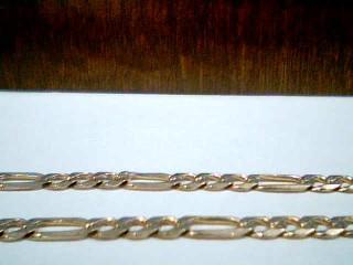 Gold Figaro Bracelet 10K 2 Tone Gold 4g