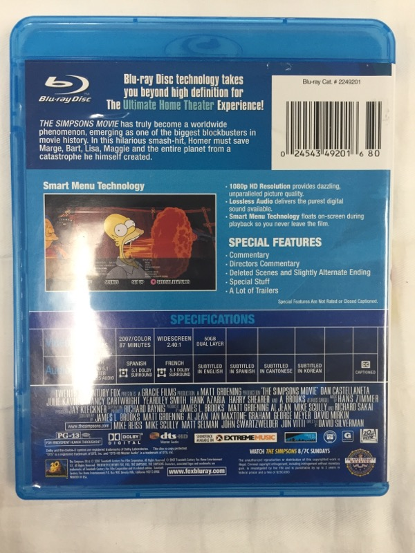 BLU-RAY MOVIE Blu-Ray THE SIMPSONS: MOVIE