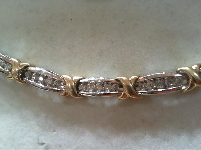 Gold-Diamond Bracelet 60 Diamonds 2.0 Carat T.W. 14K 2 Tone Gold 15.55g