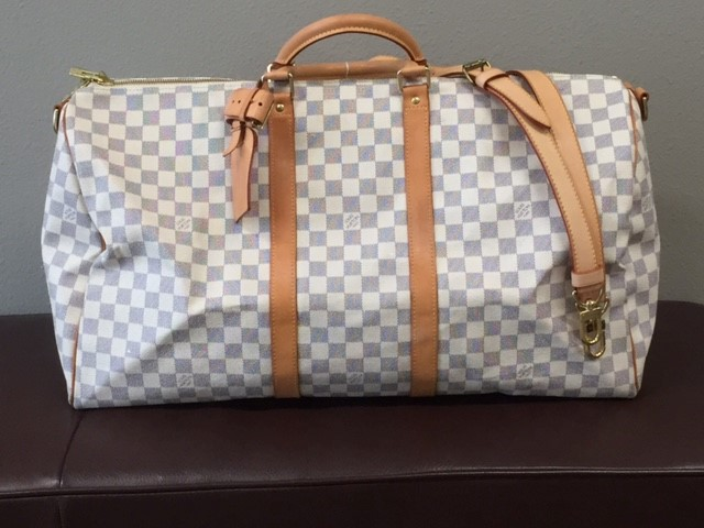 LOUIS VUITTON Handbag KEEPALL BANDOULIÈRE 55 DAMIER AZUR TRAVEL BAG