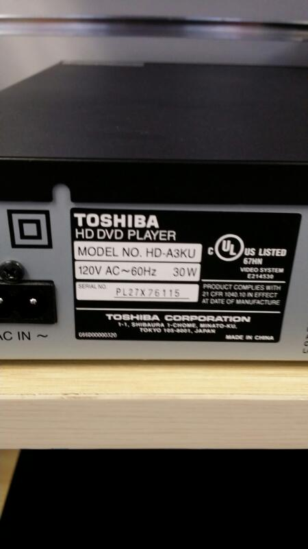 TOSHIBA DVD PLAYER HD-A3KU