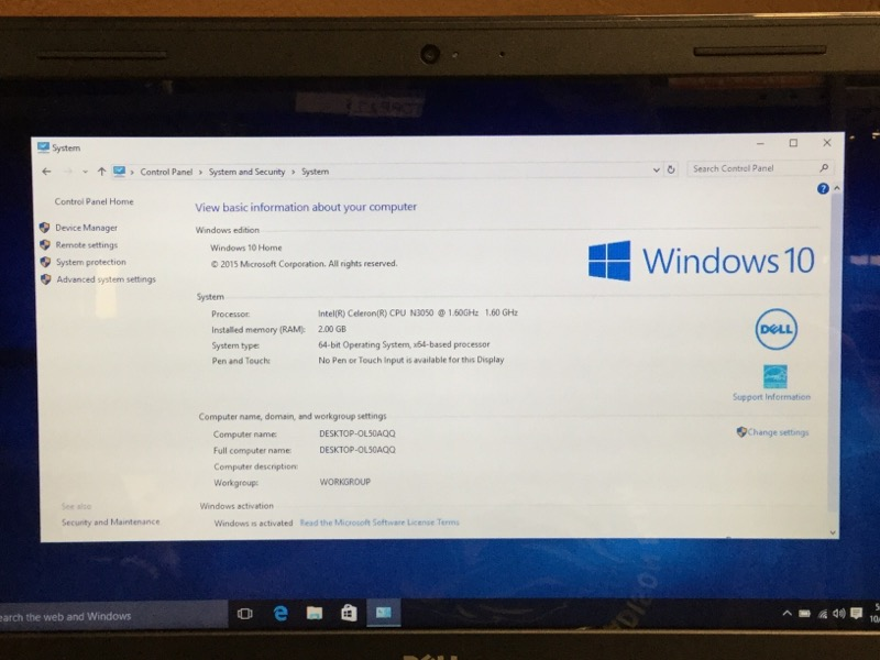 DELL INSPIRON 14 CELERON 1.60GHZ, 2GB RAM, 32GB HDD, WIN 10 HOME