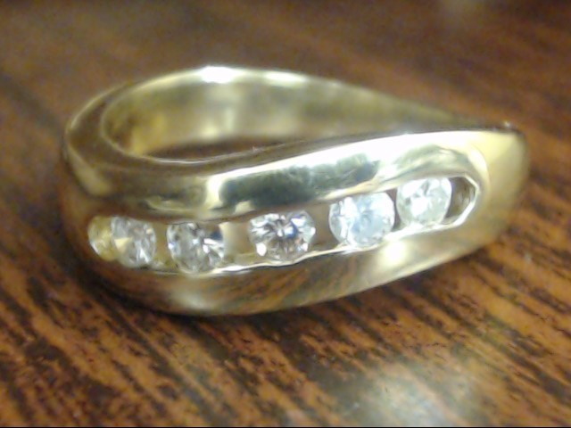 ESTATE NATURAL DIAMOND CHANNEL SET WAVE RING BAND 10K GOLD SZ 5.5