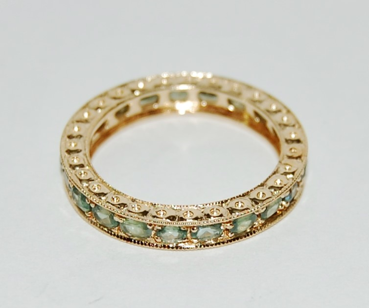 14K Yellow Gold Channel Set Peridot Eternity Ring Band