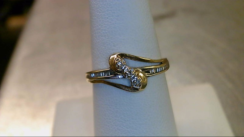 Lady's Diamond Fashion Ring 15 Diamonds .075 Carat T.W. 10K 2 Tone Gold 1.5g