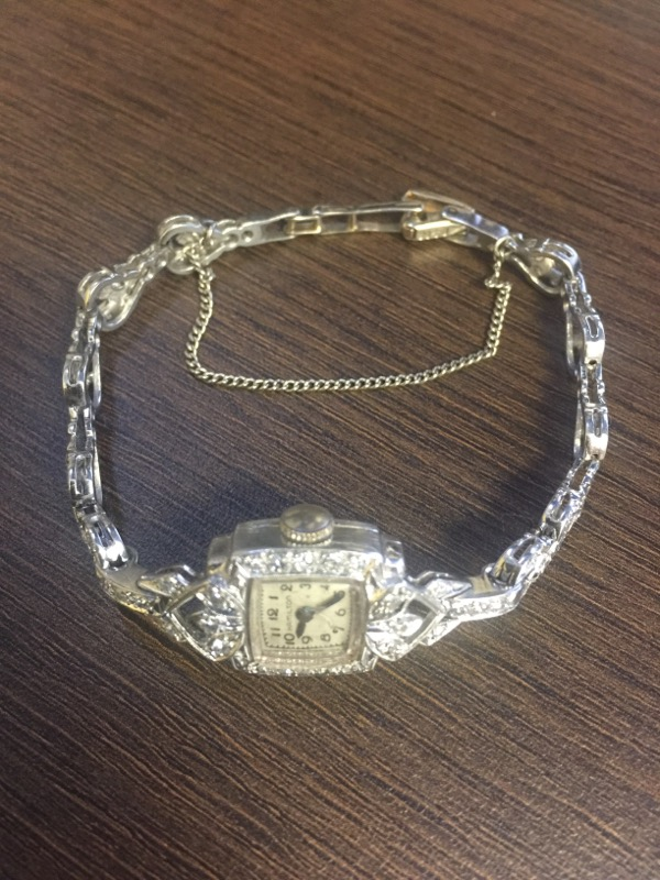 Platinum Hamilton Ladies Watch with Diamonds