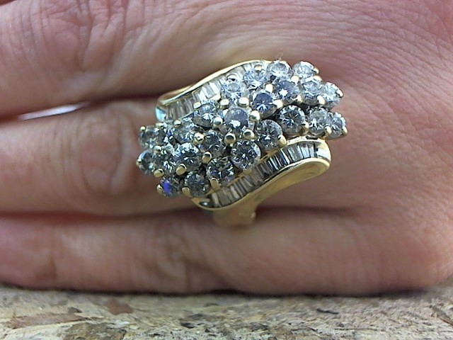 Lady's Diamond Cluster Ring 51 Diamonds 2.38 Carat T.W. 14K Yellow Gold 8.4g