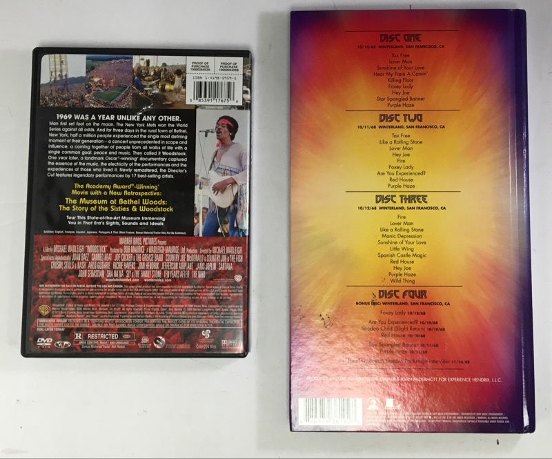 2 DISC SET - WOODSTOCK 3 DAYS OF PEACE AND MUSIC, JIMI HENDRIX WINTERLAND