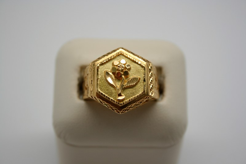 LADY'S FLOWER DESIGN RING 18K YELLOW GOLD
