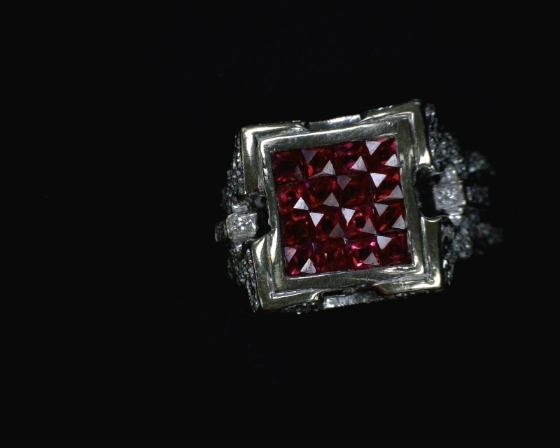 Ruby Lady's Stone & Diamond Ring 80 Diamonds .80 Carat T.W. 18K White Gold