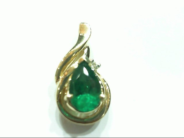 Emerald Gold-Diamond & Stone Pendant .02 CT. 14K Yellow Gold 2g