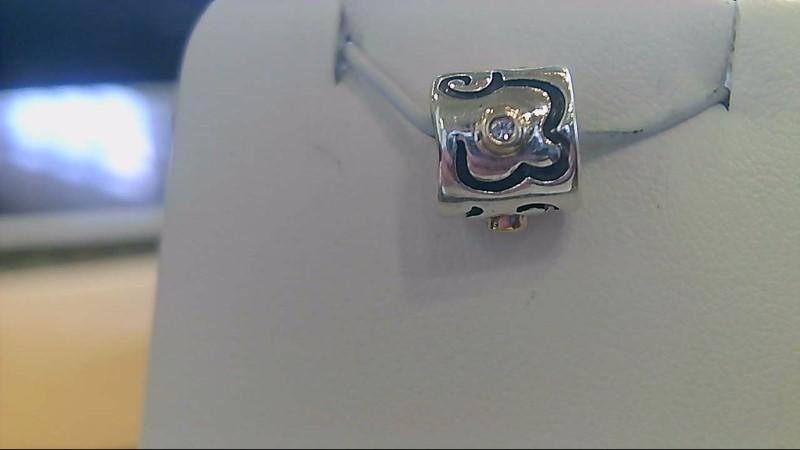 sterling silver 924/14k yellow gold diamond pandora charm