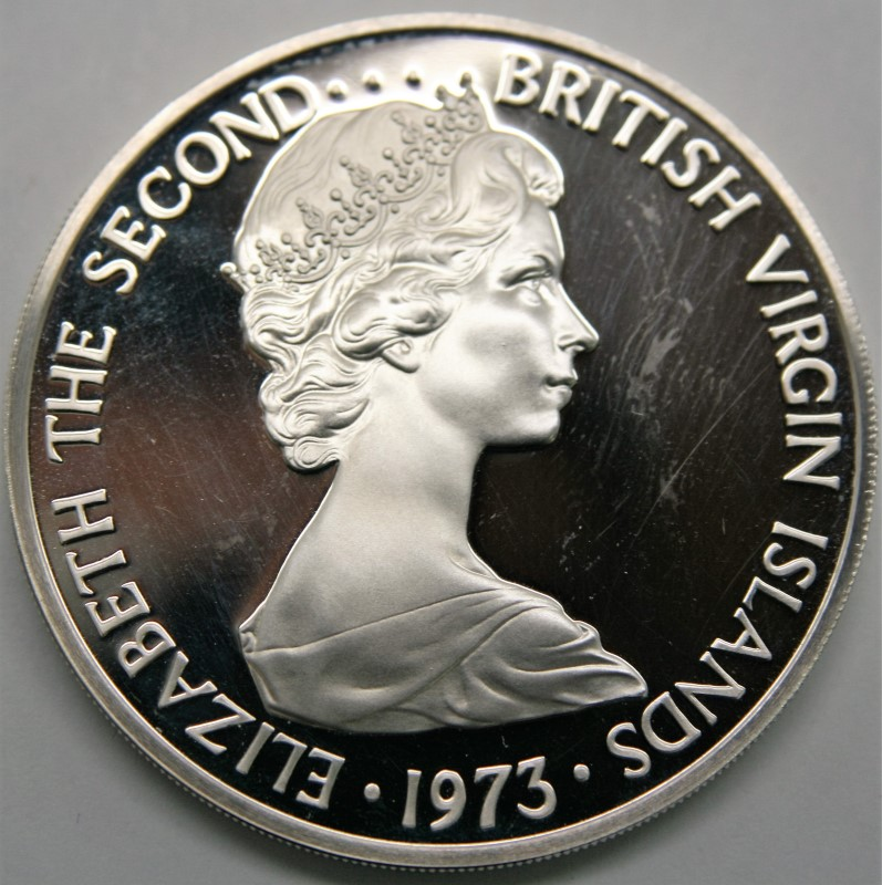 CANADA SILVER COIN ELIZABETH THE SECOND BRITISH VIRGIN ISLAND 1973 $1
