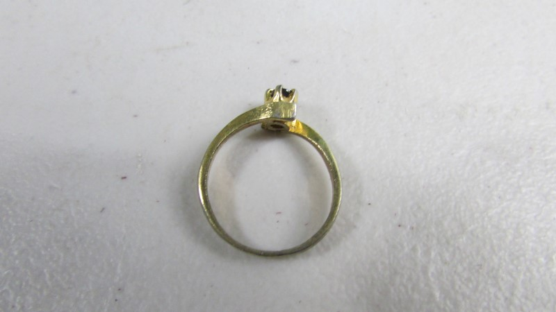Black Stone Lady's Stone Ring 10K Yellow Gold 1.5g Size:5.5