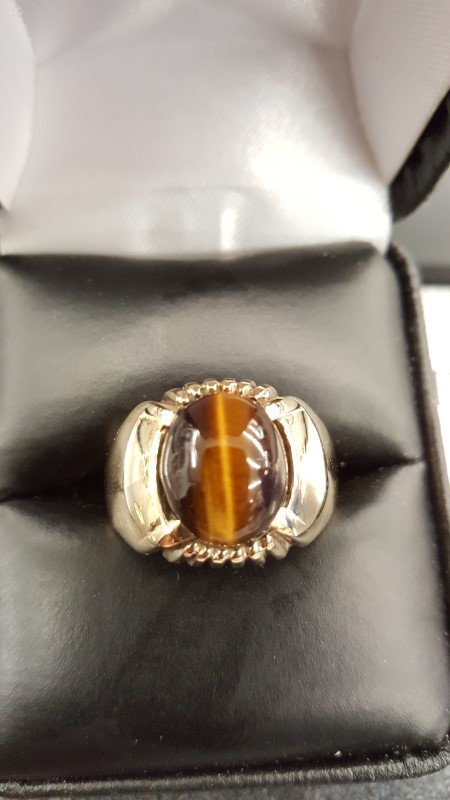 Cats Eye Crysoberyl Gent's Stone Ring 10K Yellow Gold 6.2g Size:8.3