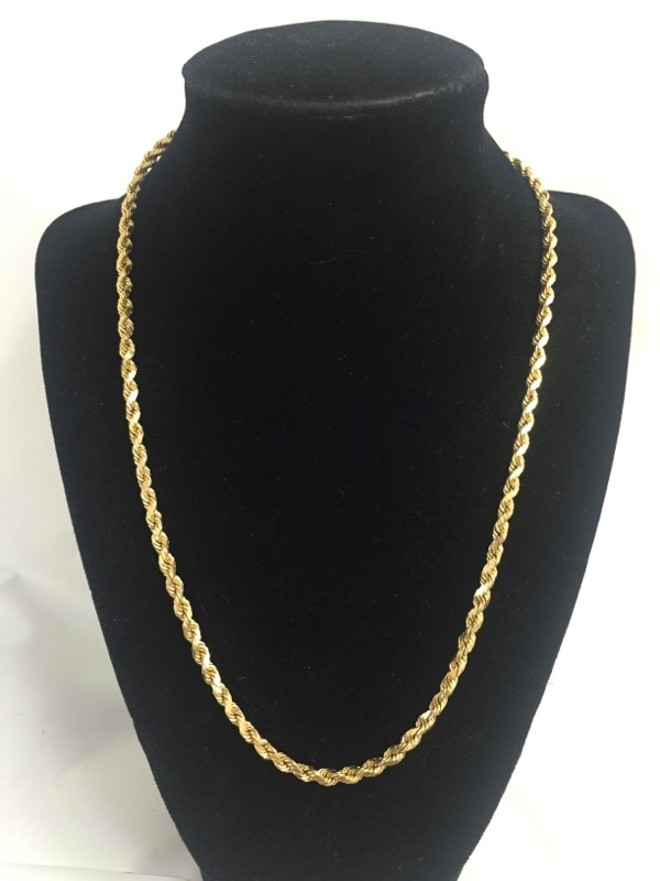 """20"""" Gold Rope Chain 14K Yellow Gold 5.8dwt"""