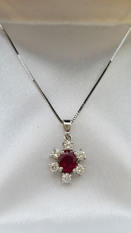 Ruby Gold-Diamond & Stone Pendant 6 Diamonds .06 Carat T.W. 18K White Gold 1.2g
