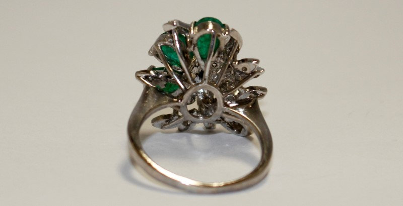 Emerald Lady's Stone & Diamond Ring 27 Diamonds .27 Carat T.W. 14K White Gold