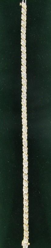 Gold-Diamond Bracelet 78 Diamonds .78 Carat T.W. 14K Yellow Gold 5.7dwt