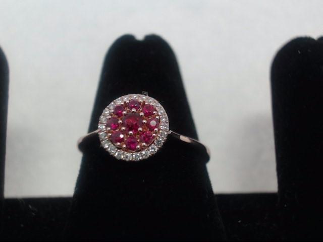 Ruby Lady's Stone & Diamond Ring 23 Diamonds .23 Carat T.W. 14K Rose Gold 1.6g