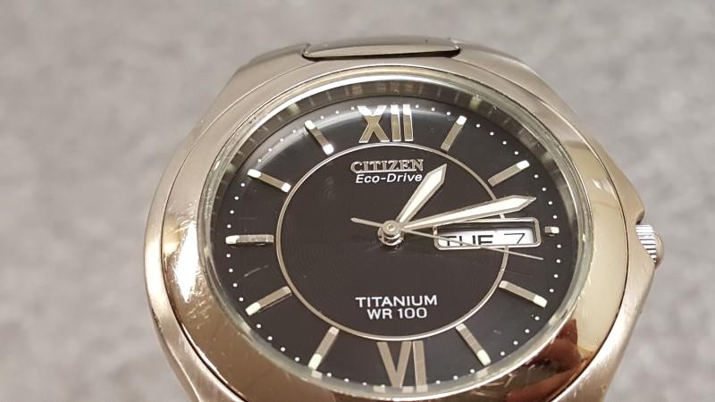 Men's Citizen Eco-Drive Titanium Case & Band Black Dial