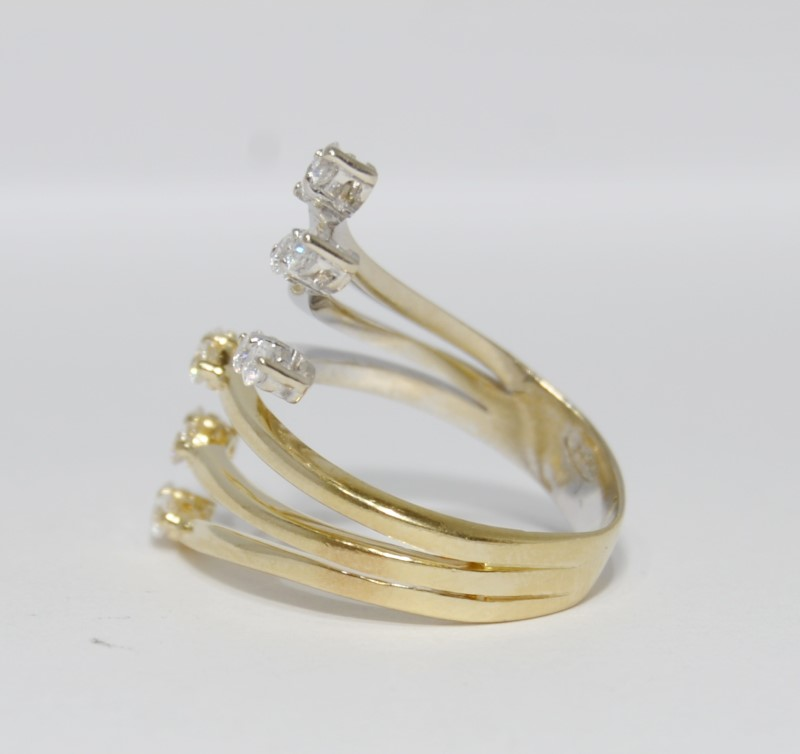 10K Two Tone White & Yellow Gold Funky CZ Split Statement Ring sz 7.5