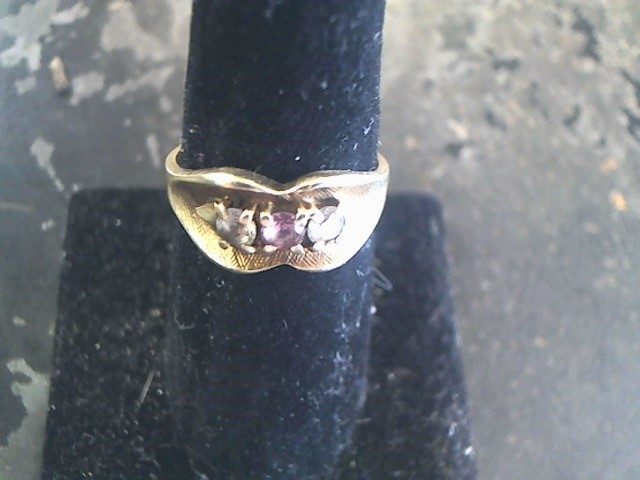 Synthetic Cubic Zirconia Lady's Stone Ring 10K Yellow Gold 2.5dwt Size:9.5